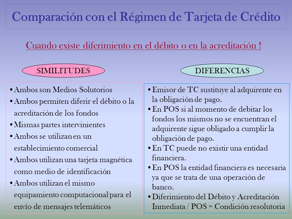 Comparación con el Régimen de Tarjeta de Crédito