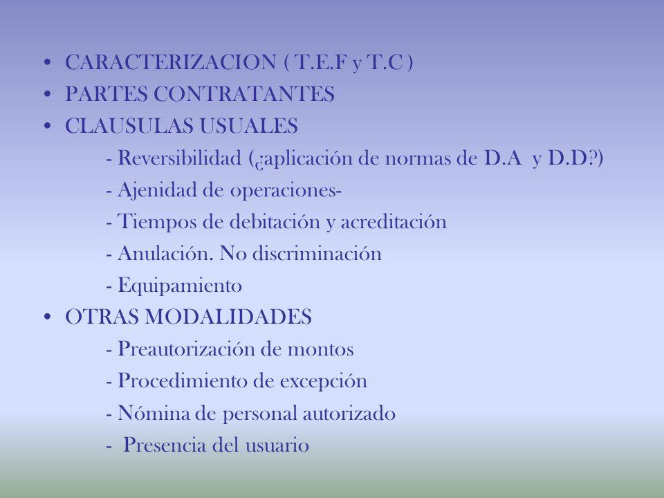 CARACTERIZACION ( T.E.F y T.C )
