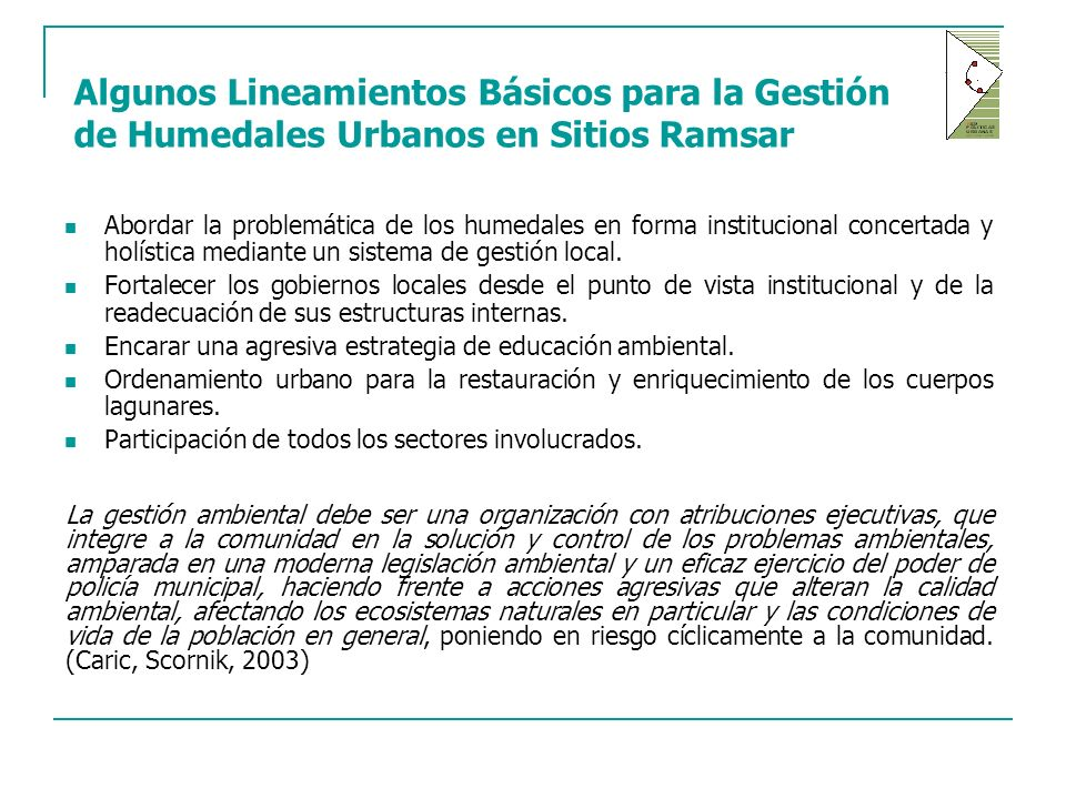 Algunos Lineamientos Básicos para la Gestión de Humedales Urbanos en Sitios Ramsar