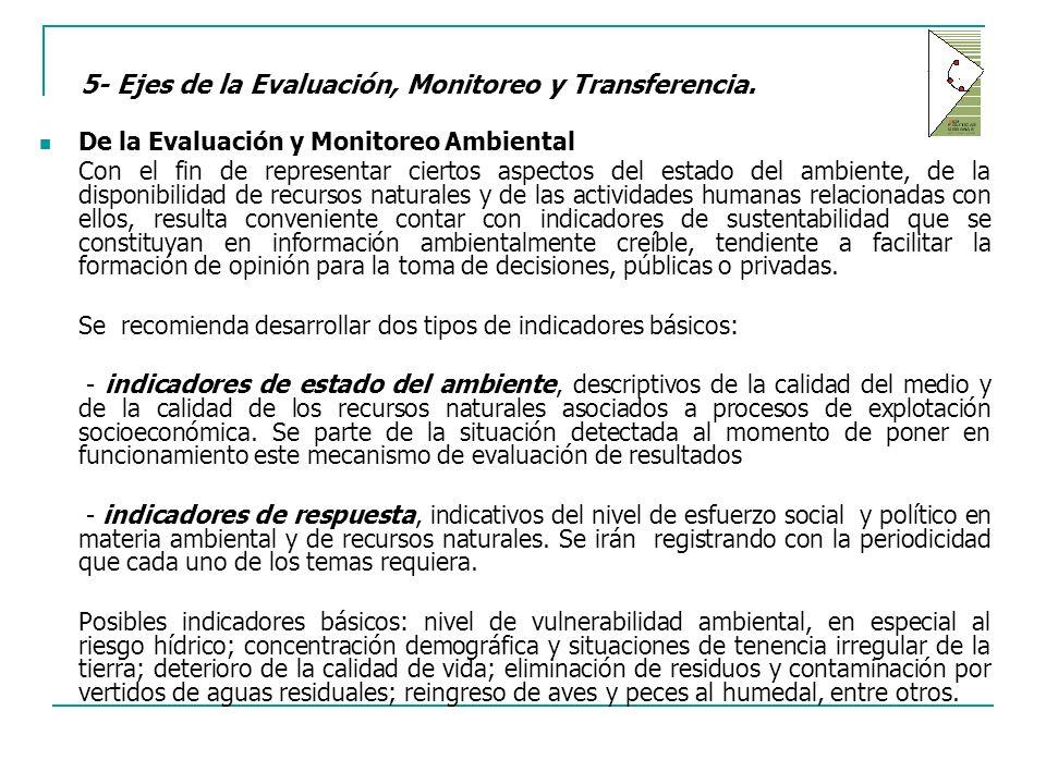 5- Ejes de la Evaluación, Monitoreo y Transferencia.