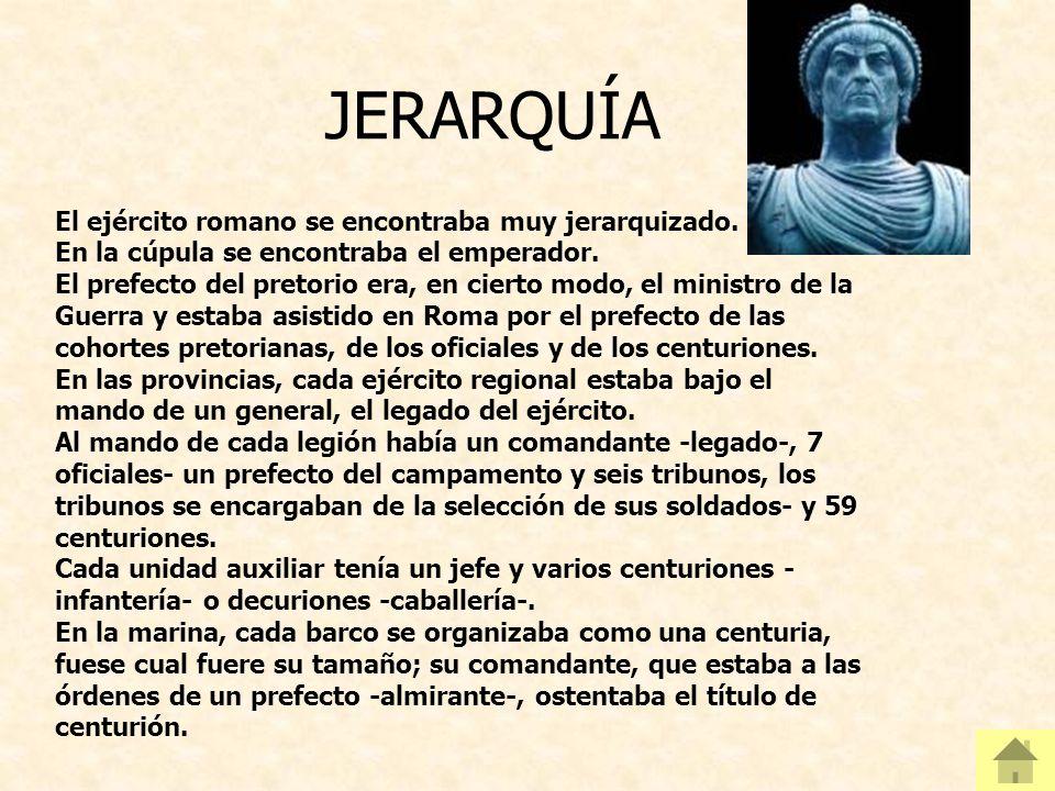 JERARQUÍA El ejército romano se encontraba muy jerarquizado.
