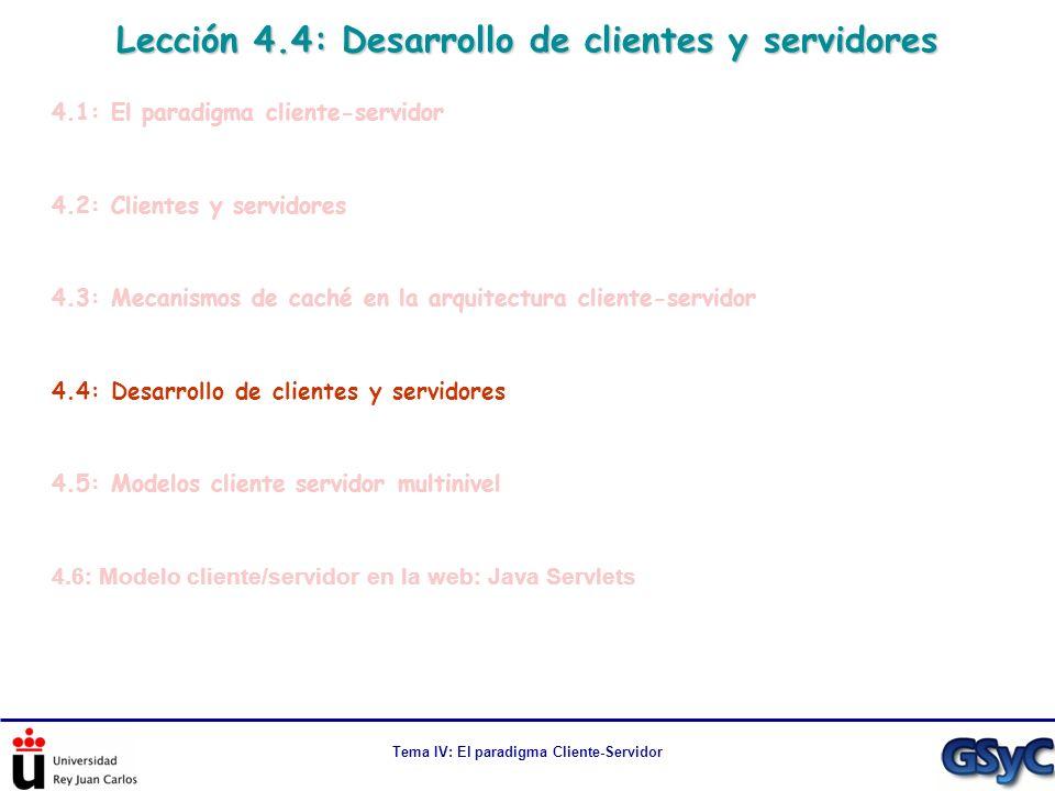 Lección 4.4: Desarrollo de clientes y servidores