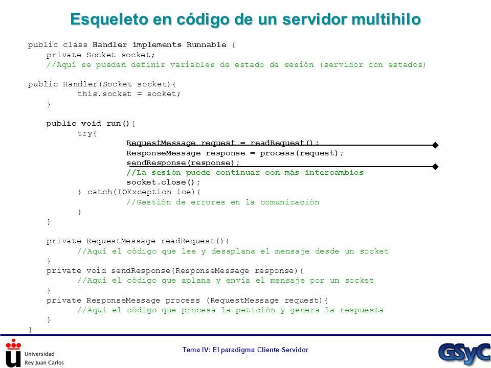 Esqueleto en código de un servidor multihilo