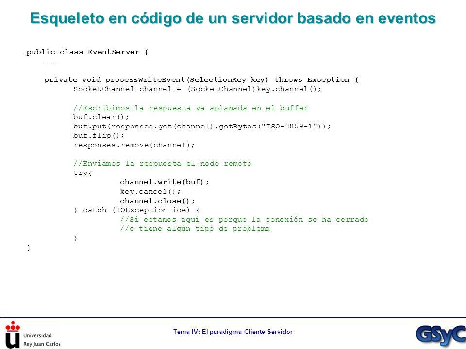 Esqueleto en código de un servidor basado en eventos