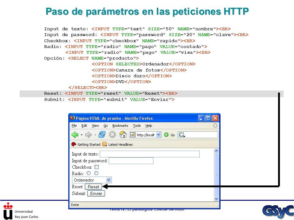 Paso de parámetros en las peticiones HTTP