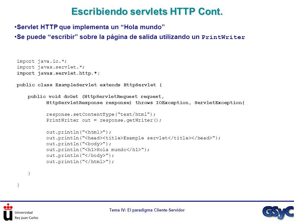 Escribiendo servlets HTTP Cont.