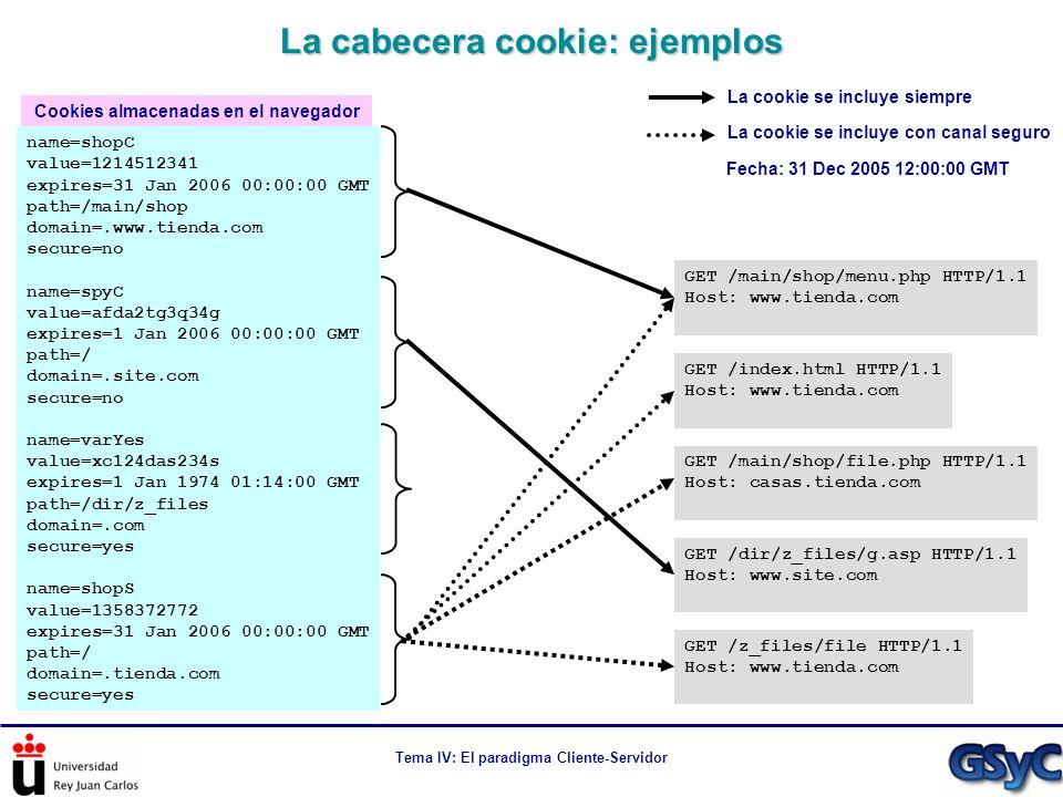 La cabecera cookie: ejemplos
