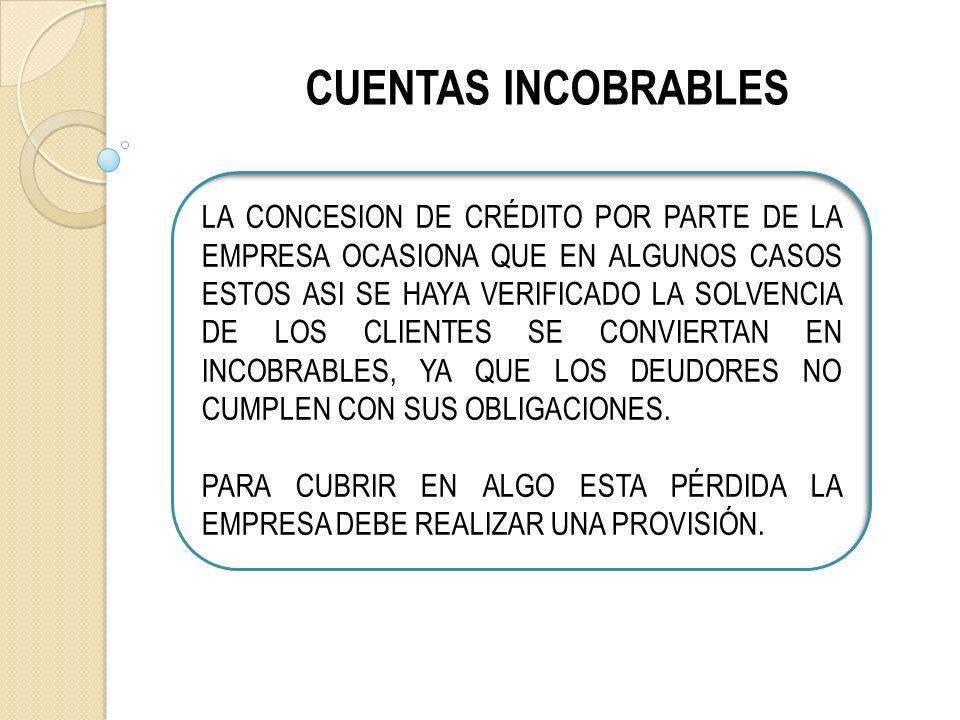 CUENTAS INCOBRABLES