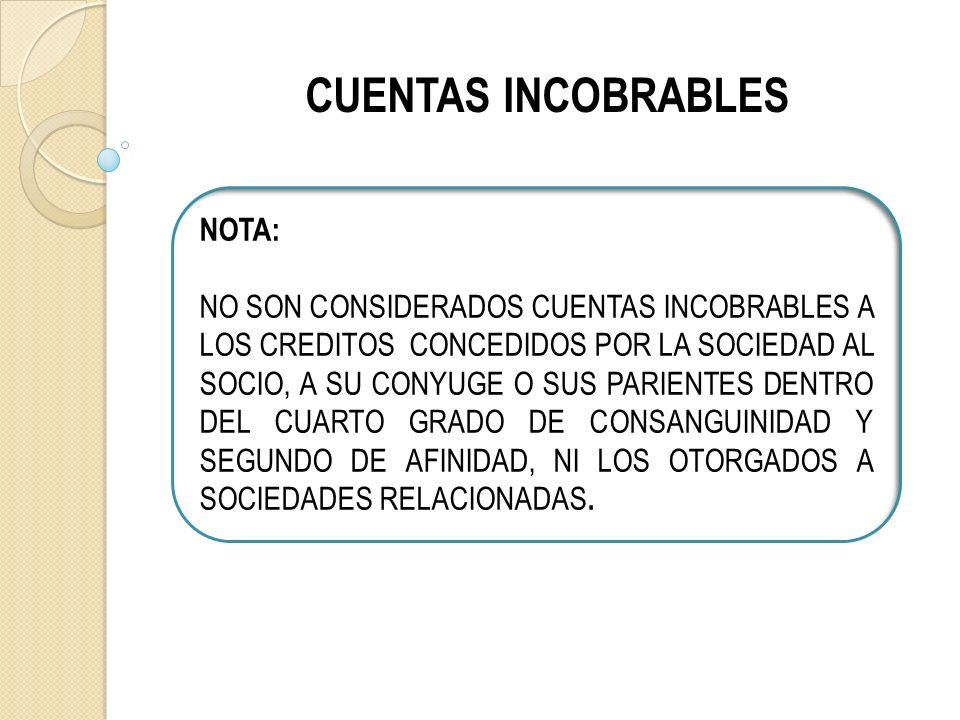 CUENTAS INCOBRABLES NOTA: