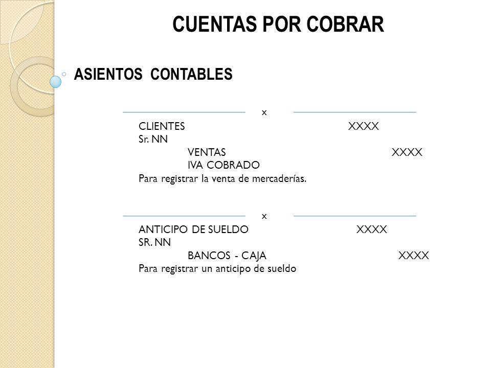 CUENTAS POR COBRAR ASIENTOS CONTABLES CLIENTES XXXX Sr. NN VENTAS XXXX