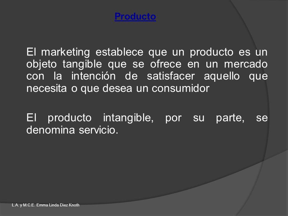 El producto intangible, por su parte, se denomina servicio.