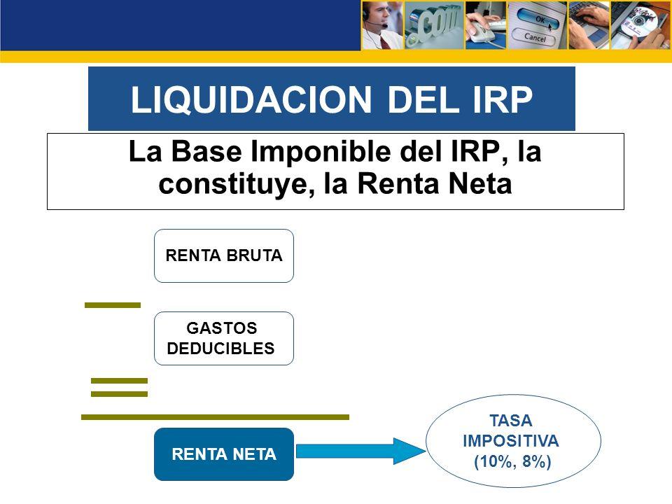 La Base Imponible del IRP, la constituye, la Renta Neta
