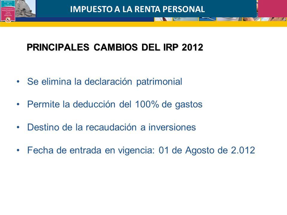 PRINCIPALES CAMBIOS DEL IRP 2012