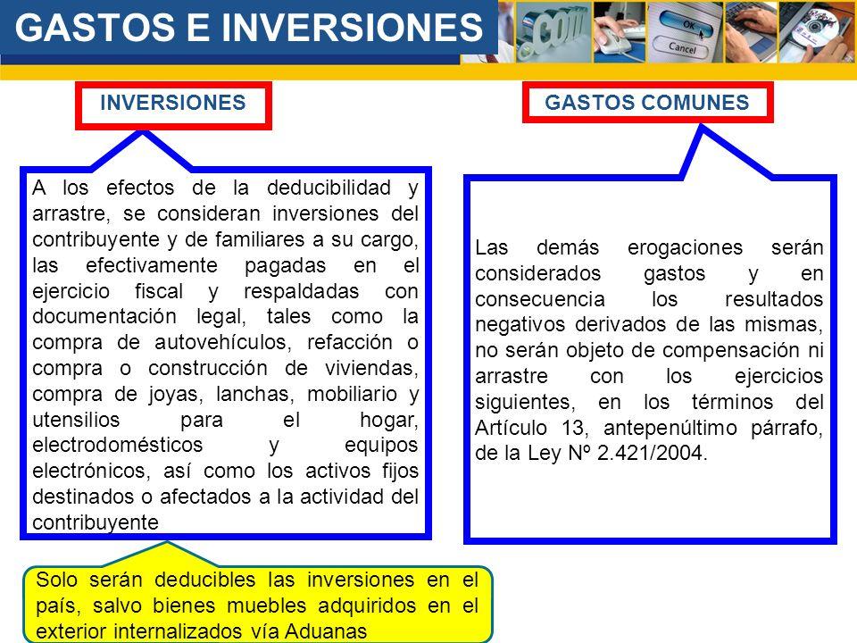 GASTOS E INVERSIONES INVERSIONES GASTOS COMUNES