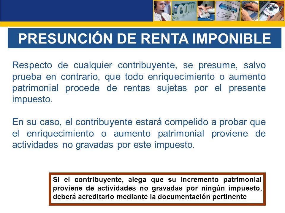 PRESUNCIÓN DE RENTA IMPONIBLE
