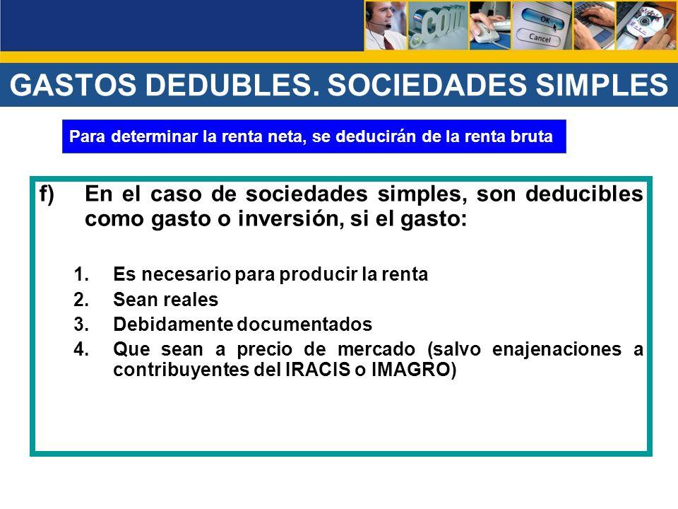 GASTOS DEDUBLES. SOCIEDADES SIMPLES