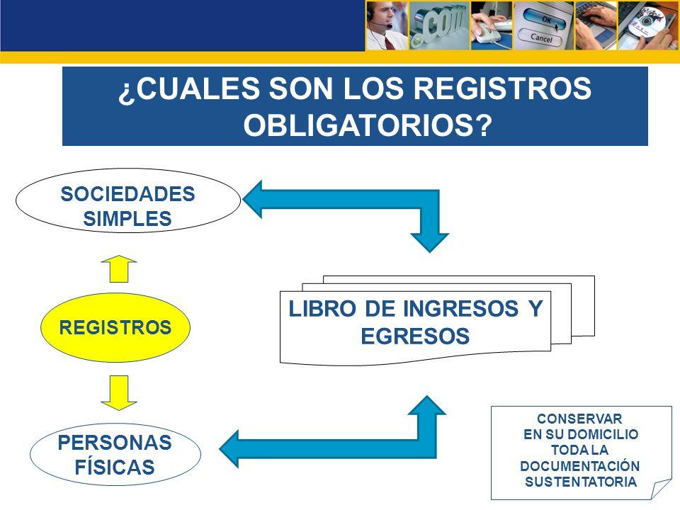 ¿CUALES SON LOS REGISTROS OBLIGATORIOS LIBRO DE INGRESOS Y EGRESOS