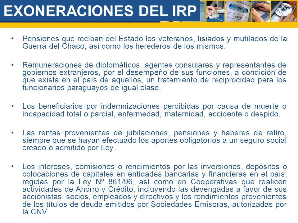 EXONERACIONES DEL IRP