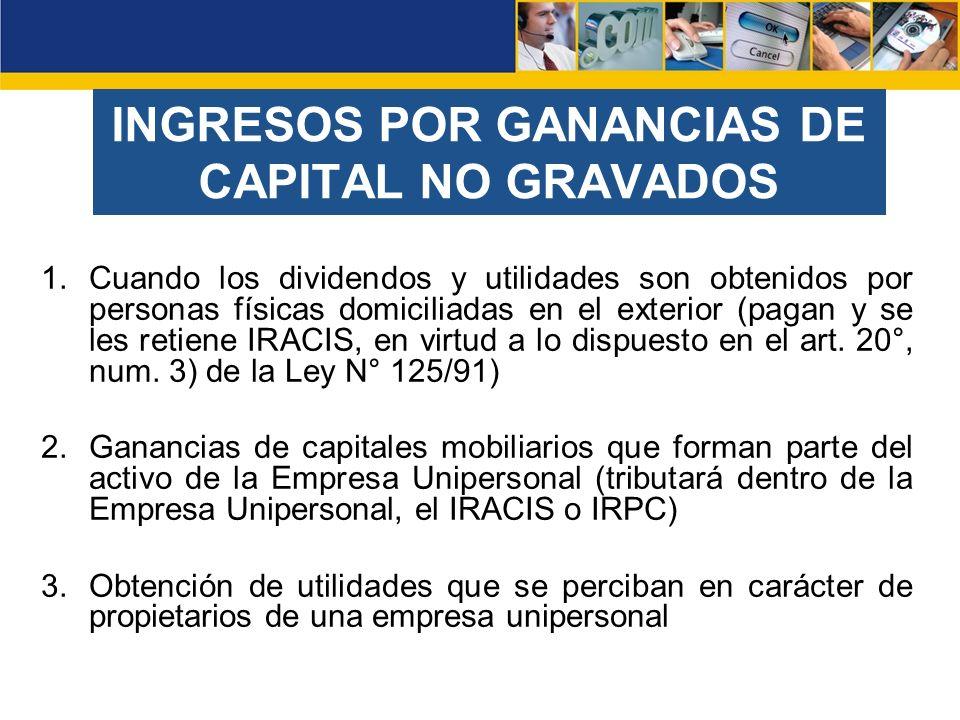 INGRESOS POR GANANCIAS DE CAPITAL NO GRAVADOS