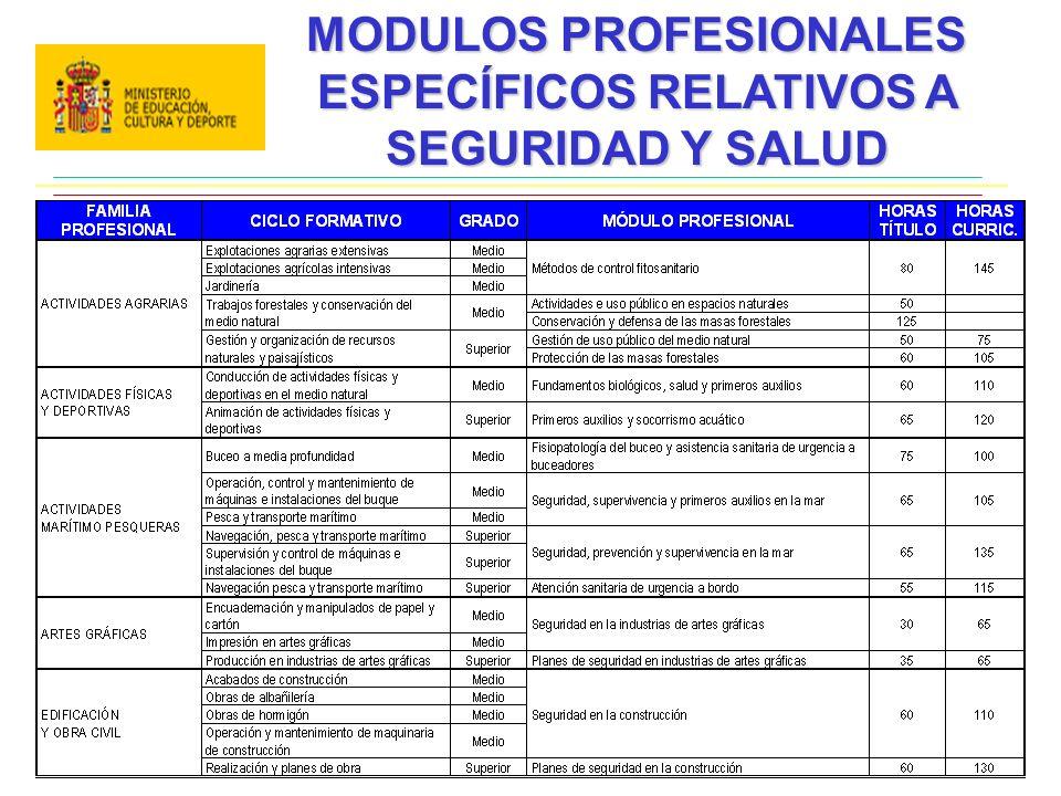 MODULOS PROFESIONALES ESPECÍFICOS RELATIVOS A SEGURIDAD Y SALUD