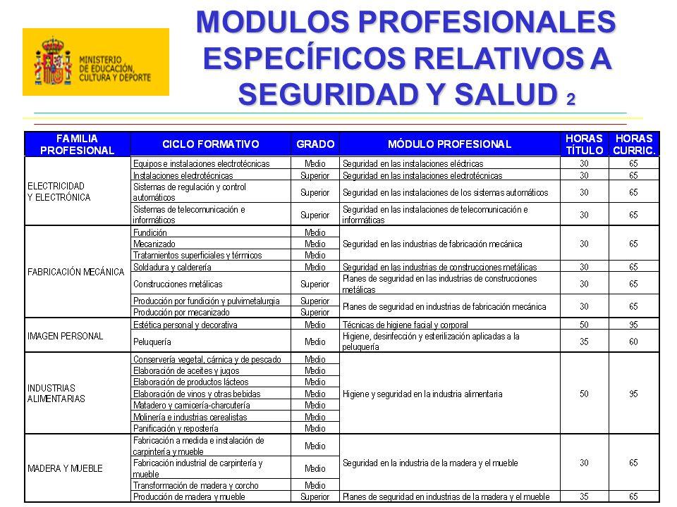 MODULOS PROFESIONALES ESPECÍFICOS RELATIVOS A SEGURIDAD Y SALUD 2