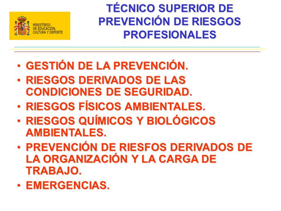 TÉCNICO SUPERIOR DE PREVENCIÓN DE RIESGOS PROFESIONALES