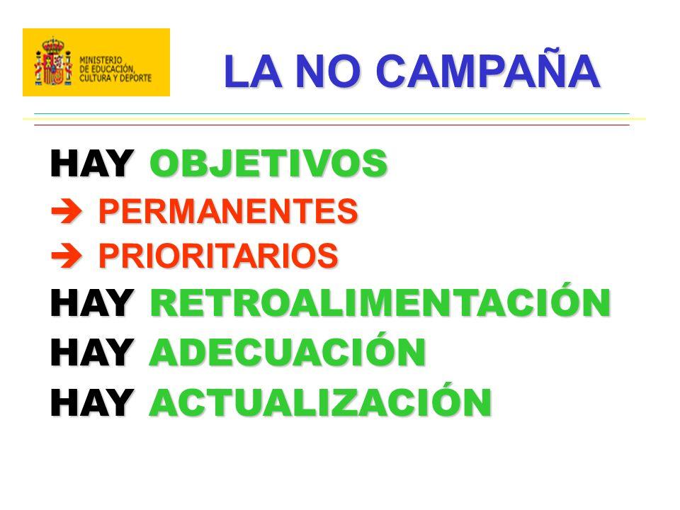 LA NO CAMPAÑA HAY OBJETIVOS HAY RETROALIMENTACIÓN HAY ADECUACIÓN