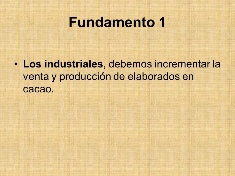 Fundamento 1 Los industriales, debemos incrementar la venta y producción de elaborados en cacao.
