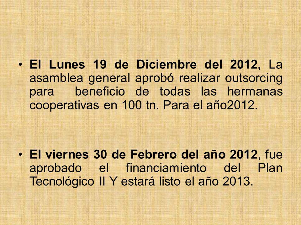 El Lunes 19 de Diciembre del 2012, La asamblea general aprobó realizar outsorcing para beneficio de todas las hermanas cooperativas en 100 tn. Para el año2012.
