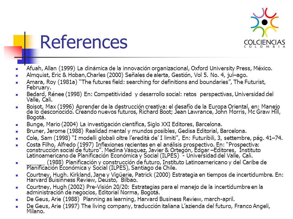 References Afuah, Allan (1999) La dinámica de la innovación organizacional, Oxford University Press, México.