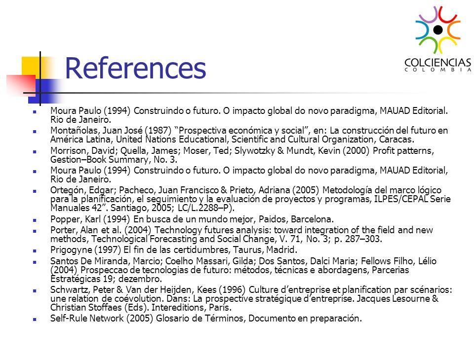 ReferencesMoura Paulo (1994) Construindo o futuro. O impacto global do novo paradigma, MAUAD Editorial. Rio de Janeiro.