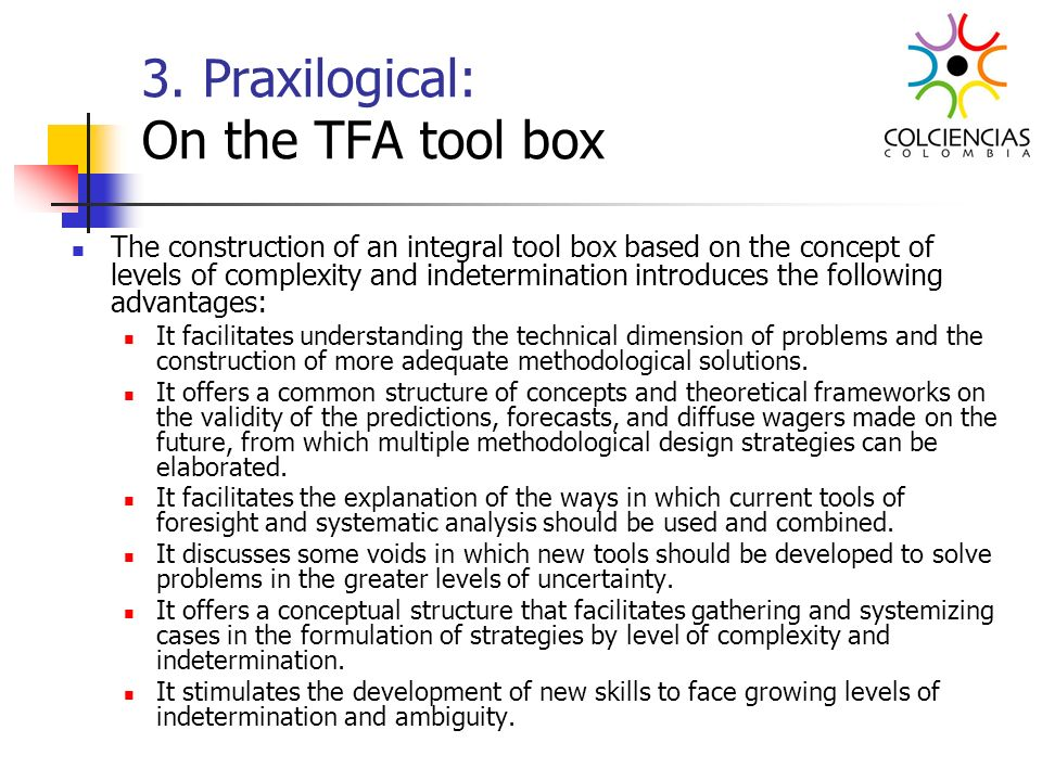 3. Praxilogical: On the TFA tool box