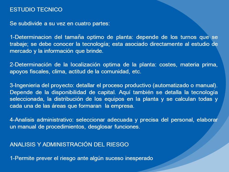 ESTUDIO TECNICO Se subdivide a su vez en cuatro partes: