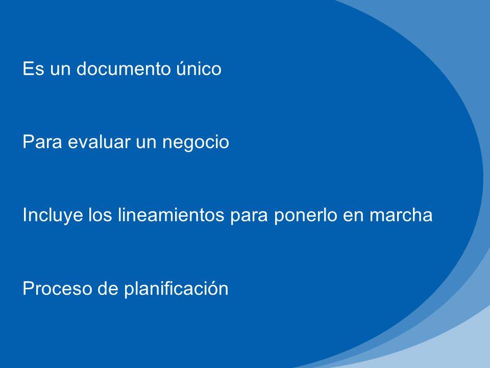 Es un documento único Para evaluar un negocio. Incluye los lineamientos para ponerlo en marcha.