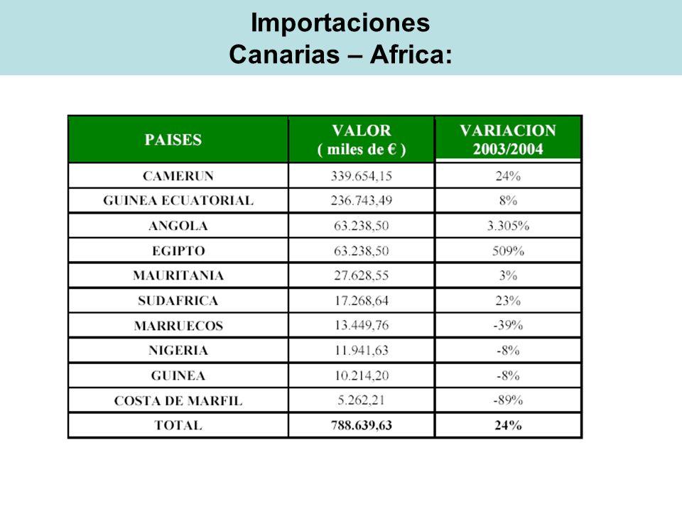 Importaciones Canarias – Africa:
