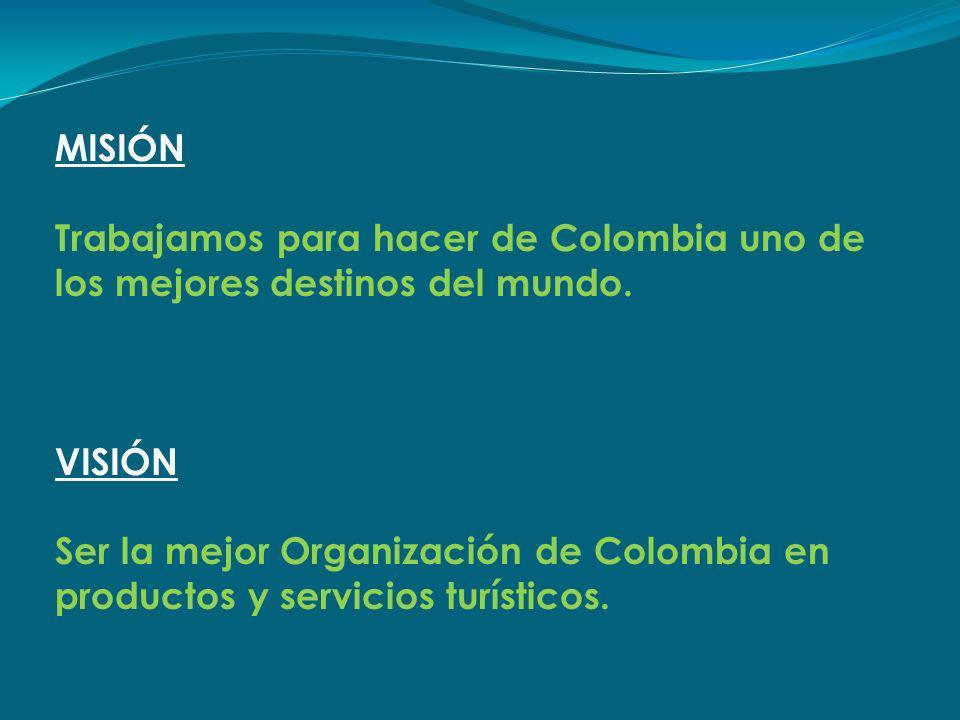 MISIÓN. Trabajamos para hacer de Colombia uno de los mejores destinos del mundo. VISIÓN.