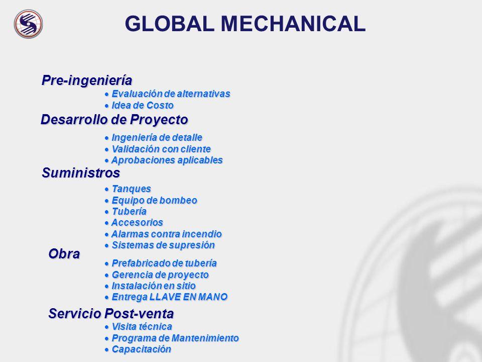 GLOBAL MECHANICAL Pre-ingeniería Desarrollo de Proyecto Suministros
