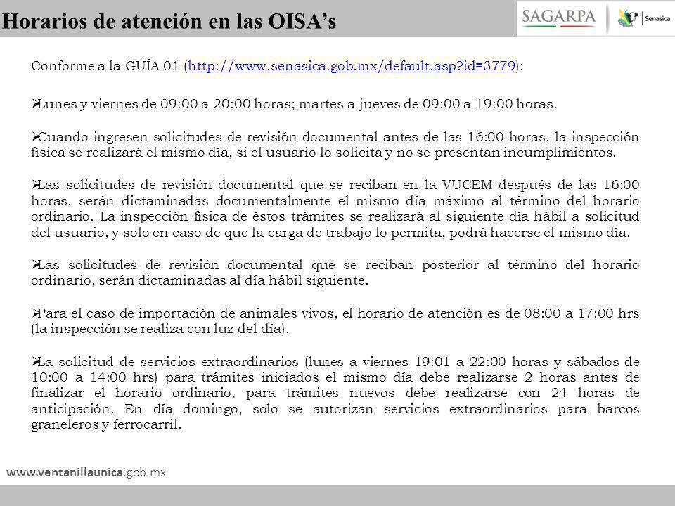 Horarios de atención en las OISA's