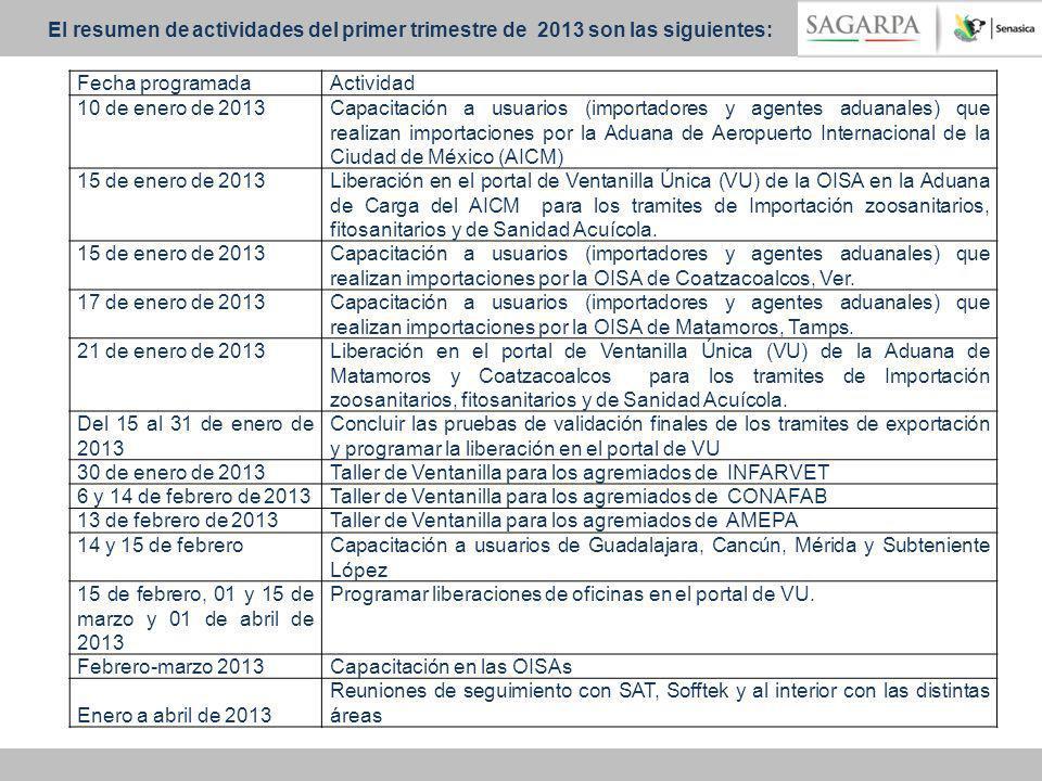 El resumen de actividades del primer trimestre de 2013 son las siguientes:
