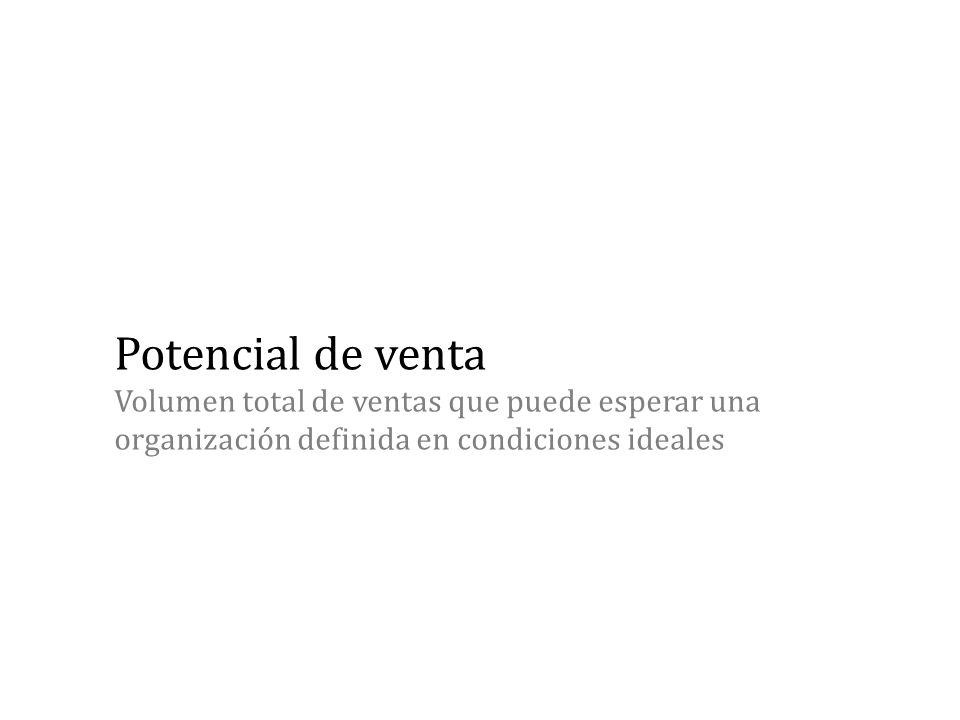 Potencial de venta Volumen total de ventas que puede esperar una organización definida en condiciones ideales