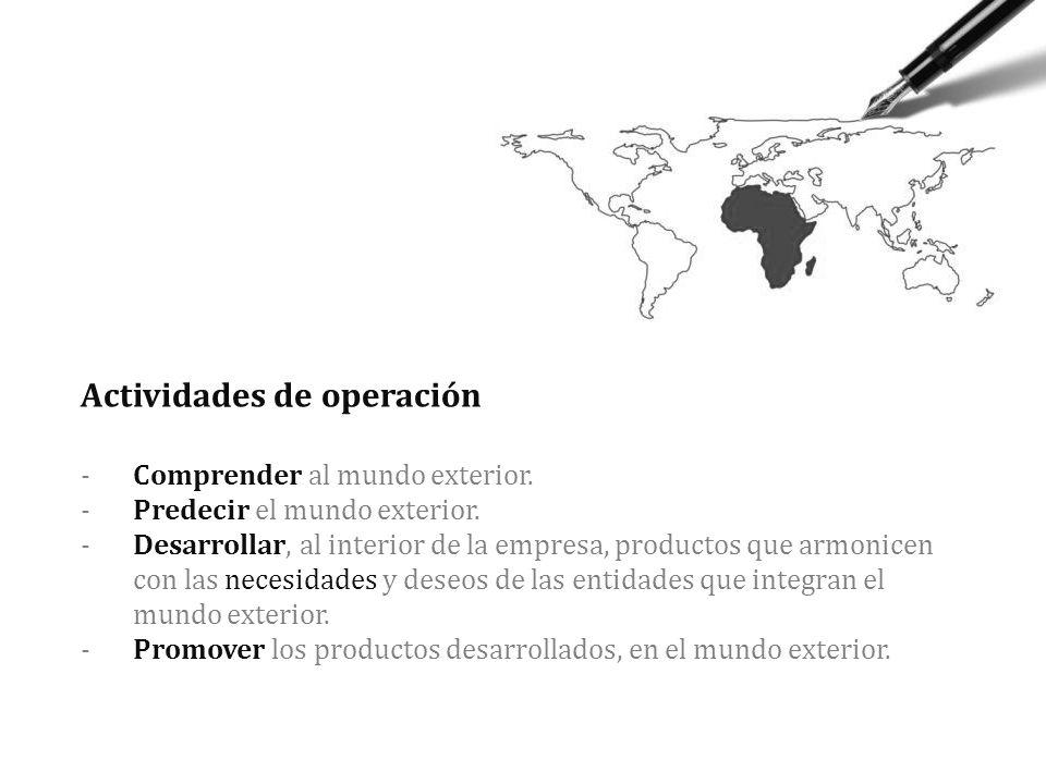 Actividades de operación -. Comprender al mundo exterior. -