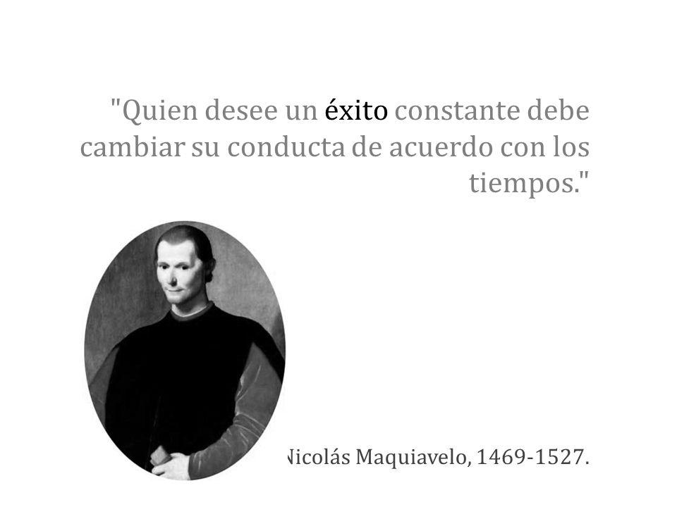 Quien desee un éxito constante debe cambiar su conducta de acuerdo con los tiempos. Nicolás Maquiavelo, 1469-1527.