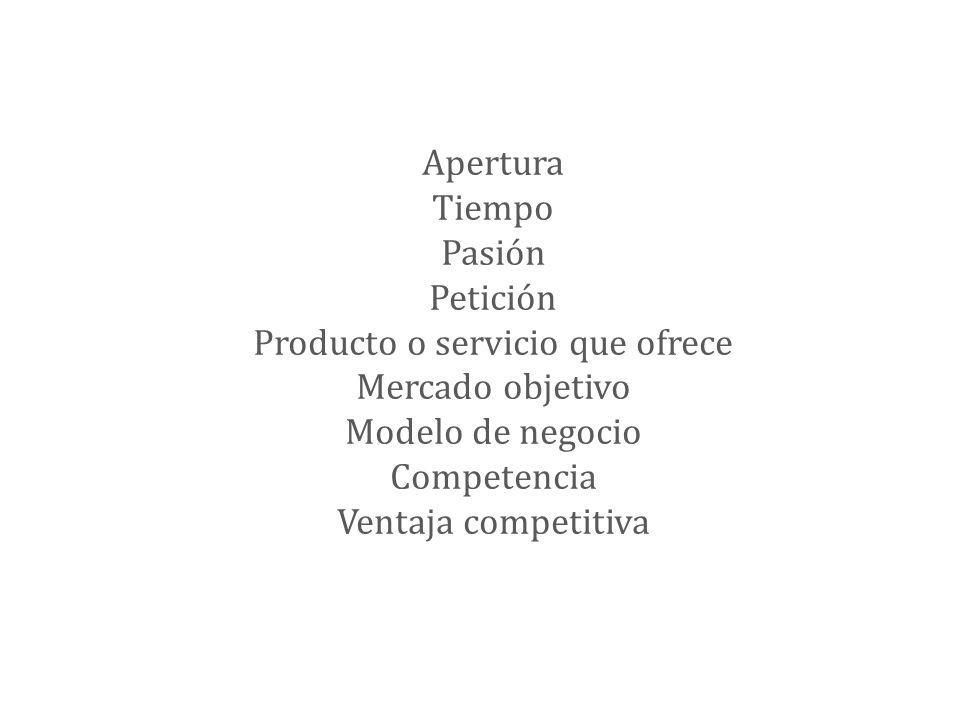 Apertura Tiempo Pasión Petición Producto o servicio que ofrece Mercado objetivo Modelo de negocio Competencia Ventaja competitiva