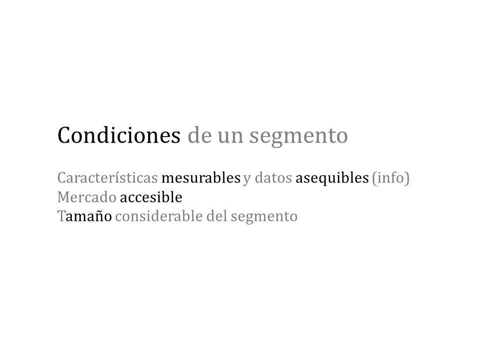 Condiciones de un segmento Características mesurables y datos asequibles (info) Mercado accesible Tamaño considerable del segmento