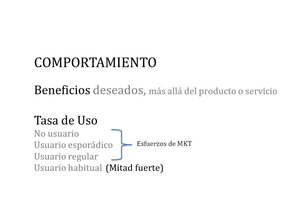 COMPORTAMIENTO Beneficios deseados, más allá del producto o servicio Tasa de Uso No usuario Usuario esporádico Usuario regular Usuario habitual (Mitad fuerte)