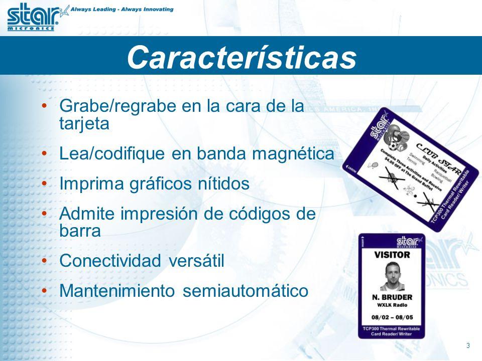 Características Grabe/regrabe en la cara de la tarjeta
