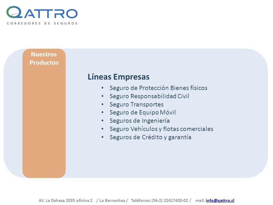 Líneas Empresas Nuestros Productos Seguro de Protección Bienes físicos