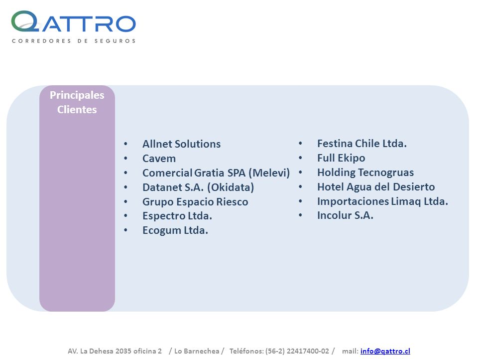 Principales Clientes. Allnet Solutions. Cavem. Comercial Gratia SPA (Melevi) Datanet S.A. (Okidata)