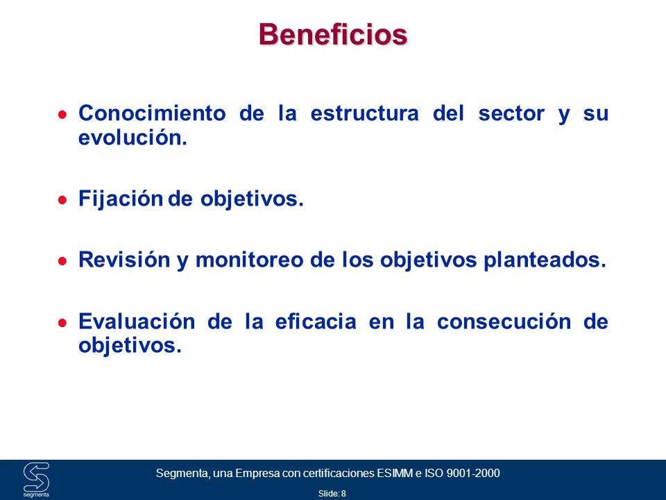 Beneficios Conocimiento de la estructura del sector y su evolución.