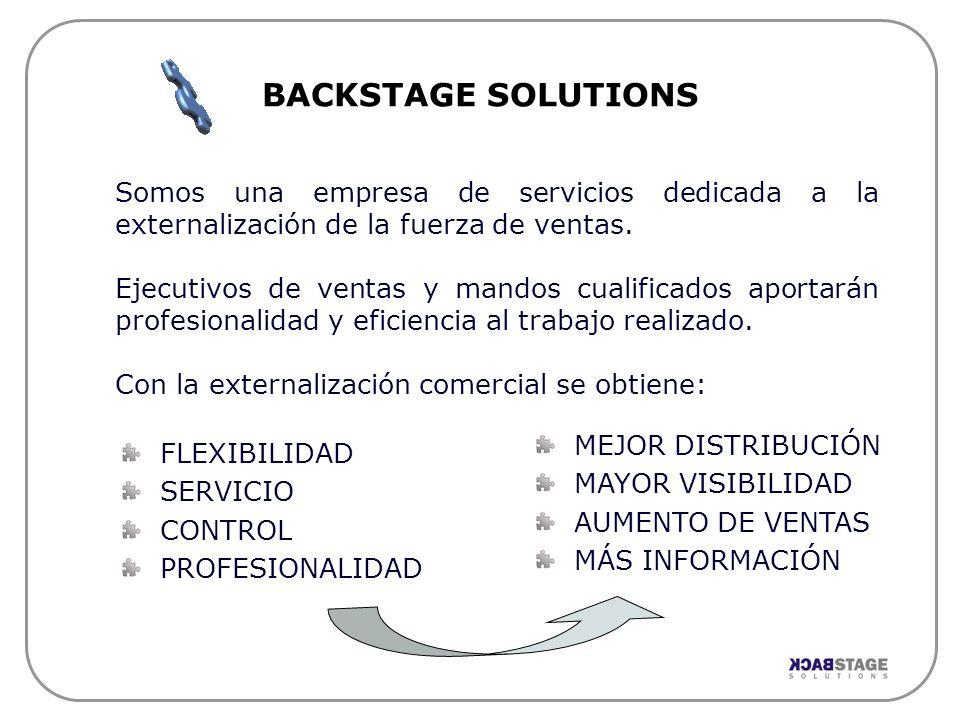 BACKSTAGE SOLUTIONS Somos una empresa de servicios dedicada a la externalización de la fuerza de ventas.